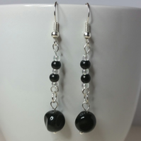 Black and Clear Glass Beads Earrings