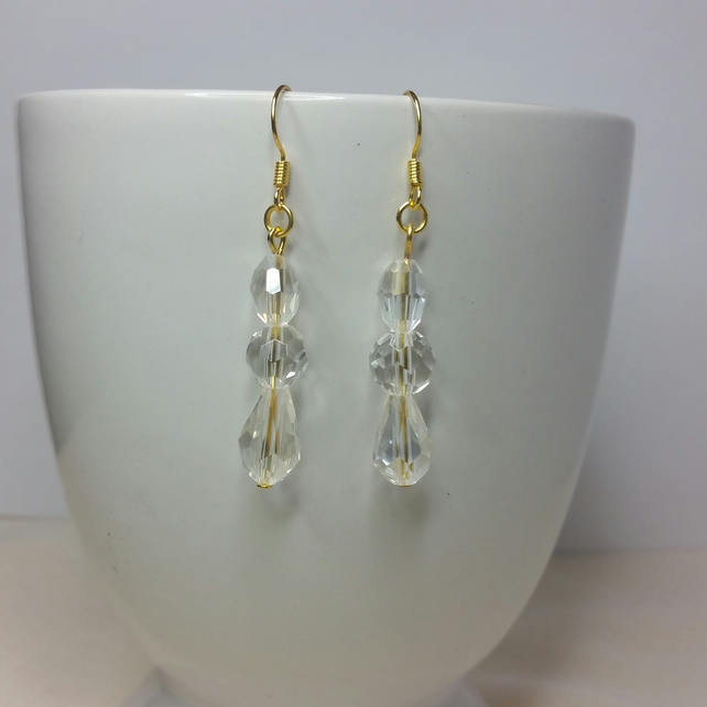 Clear Crystal Gold Earrings