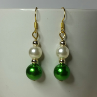 Green Imitation Pearl Bead (With Off-White Japanese Imitation Pearl) Earrings