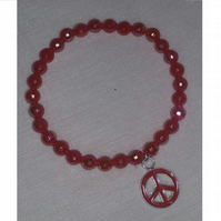 Red Stretchy Bracelet With Peace Charm