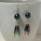 Iridescent Acrylic Tail Feather Earrings