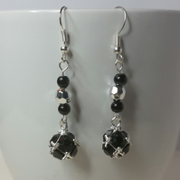 Jet Black and Silver Rhinestone Charm Earrings