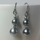 Grey Acrylic Pearl Bead Earrings