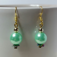 Light Green Acrylic Pearl Bead (With Iridescent Acrylic Spacer Bead) Earrings