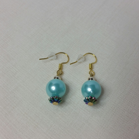 Light Blue Acrylic Pearl Bead (With Iridescent Acrylic Spacer Bead) Earrings