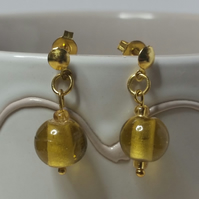 Yellow Cat's Eye Gold Plated Earrings