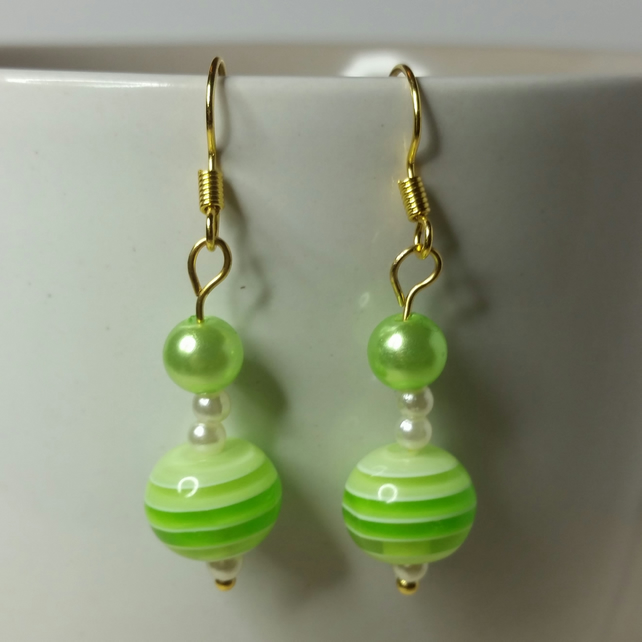 Green Stripy Acrylic Bead (With Small Green Pearl Bead) Earrings