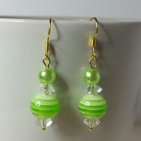 Green Stripy Acrylic Bead (With transparent acrylic bicone beads) Earrings