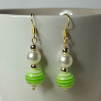 Green Stripy Acrylic Bead (With Off-White Japanese Imitation Pearl) Earrings