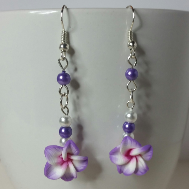 Violet and White Polymer Clay Flower Earrings Style 1