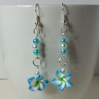 Blue and White Polymer Clay Flower Earrings Style 2