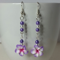 Violet and White Polymer Clay Flower Earrings Style 2