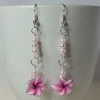 Pink and Purple Polymer Clay Flower Earrings Style 2