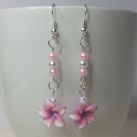 Pink and Purple Polymer Clay Flower Earrings Style 1