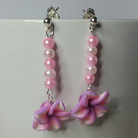 Pink and Purple Polymer Clay Flower Earrings Style 3