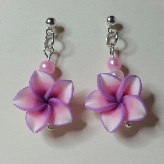 Pink and Purple Polymer Clay Flower Earrings Style 4