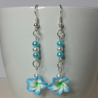 Blue and White Polymer Clay Flower Earrings Style 1