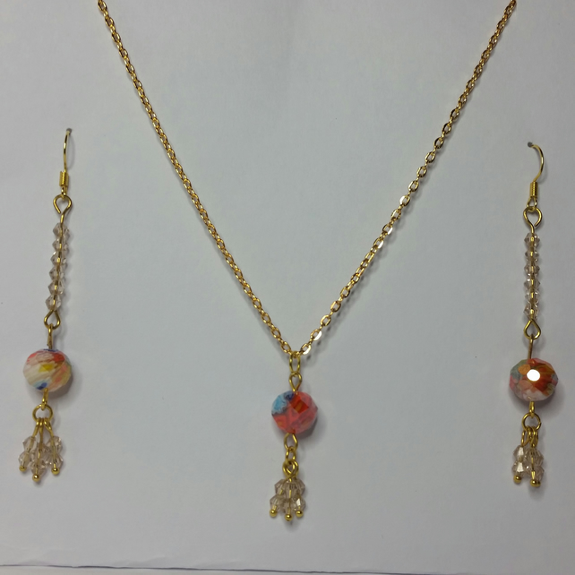 Millefiori Crystal and Light Brown Crystal Earrings & Pendant Set Style 1