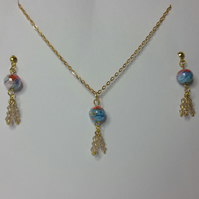 Millefiori Crystal and Light Brown Crystal Earrings & Pendant Set Style 2