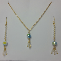 Millefiori Crystal and White Clear Crystal Earrings & Pendant Set Style 1