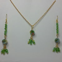 Millefiori Crystal and Green Crystal Earrings & Pendant Set Style 1