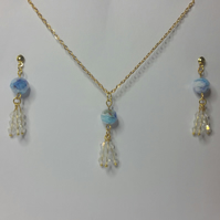 Millefiori Crystal and White Clear Crystal Earrings & Pendant Set Style 2