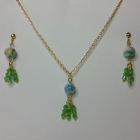 Millefiori Crystal and Green Crystal Earrings & Pendant Set Style 2