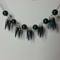 Iridescent Acrylic Tail Feather Necklace
