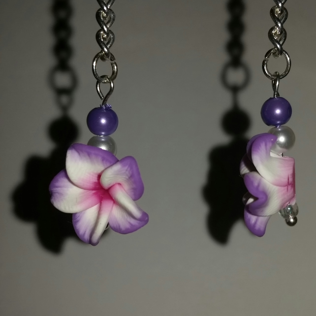 Violet and White Polymer Clay Flower Earrings Style 3