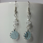 Silver-Blue Crystal Charm and White Glass Pearl Bead Earring