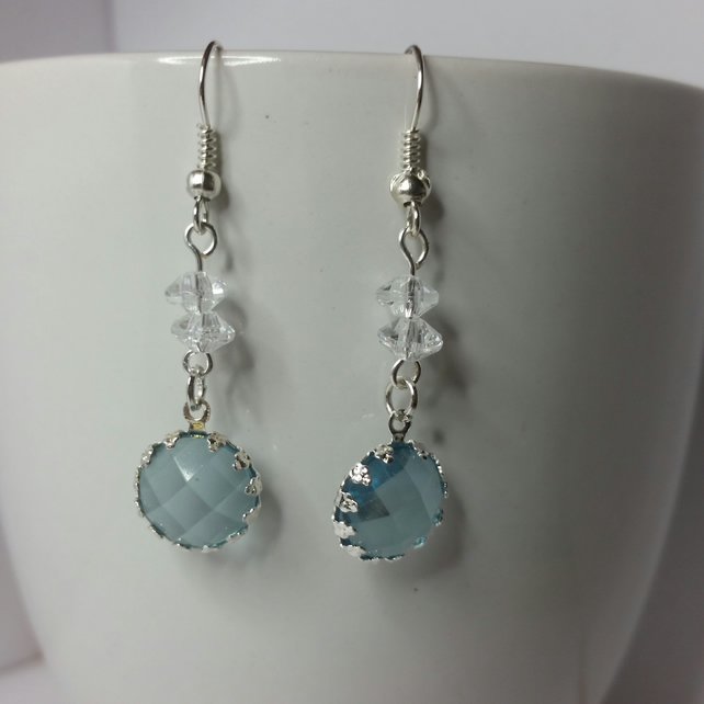 Silver-Blue Crystal Charm and Clear Bicone Beads Earring