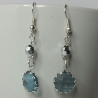 Silver-Blue Crystal Charm and Silver Plated Faceted Bead Earring