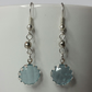 Silver-Blue Crystal Charm and Disco Bead Earring
