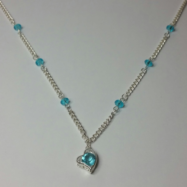Aqua Rhinestone Heart Charm Necklace