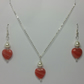 Pink-Red Czech Pressed Heart Earrings & Pendant Set