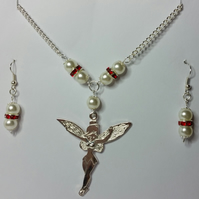 Tibetan Silver Fairy Necklace and Earrings Set with Red Rhinestone Crystals