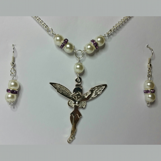 Tibetan Silver Fairy Necklace and Earrings Set with Purple Rhinestone Crystals