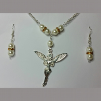 Tibetan Silver Fairy Necklace and Earrings Set with Yellow Rhinestone Crystals