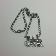 Antique Silver Steam Engine Necklace Style 1