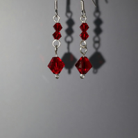 Siam Swarovski Crystal Sterling Silver Earrings