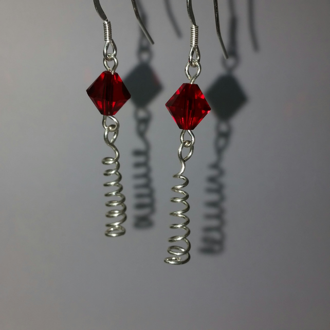 Siam Swarovski Crystal and Sterling Silver Spiral Earrings