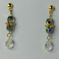Crystal Vitrail Glass and Clear AB Teardrop Crystal Gold-Plated Earrings