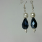 Navy Blue Crystal Teardrop Beads with Off White Japanese Pearl Beads Earrings