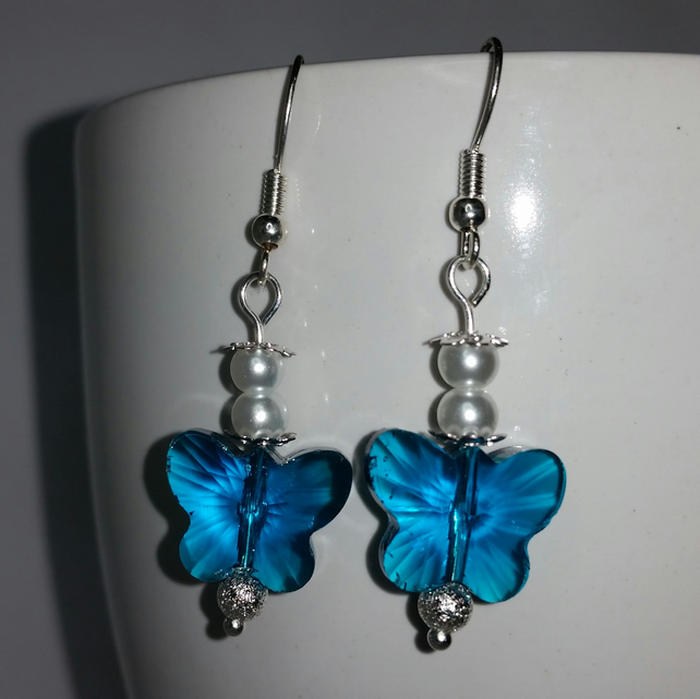 Turquoise Crystal Glass Butterfly And White Glass Pearl Earrings