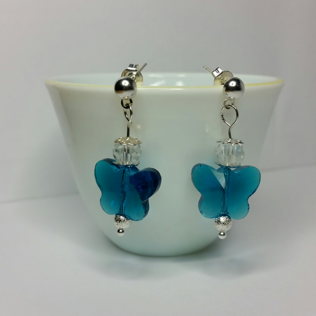 Turquoise Crystal Glass Butterfly And Clear Czech Crystal Earrings
