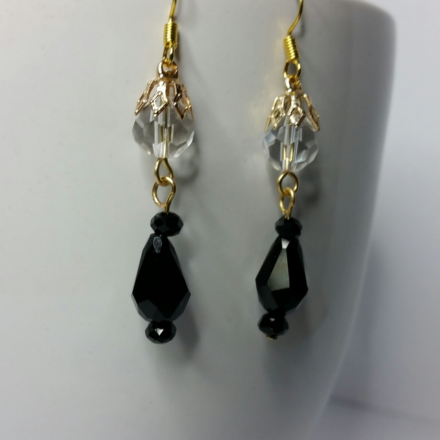 Black Crystal Teardrop And Clear Crystal Gold-Plated Earrings