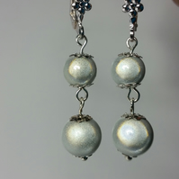 White 3D Miracle Illusion Bead Silver-Plated Earrings