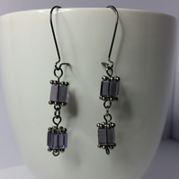 Purple Glass Cube Earrings