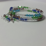Multicoloured AB Crystal and Glass Bead Memory Wire Bracelet