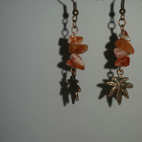 Red Agate Chips with Tibetan Copper Leaf Antique Copper-Plated Earrings